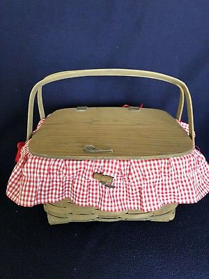 1984 Signed Longaberger Pie Basket with Gingham Red Liner and Riser