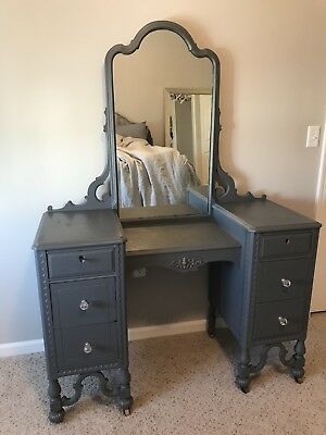 Antique dressing table vanity mirror 6 drawer casters  chalk painted