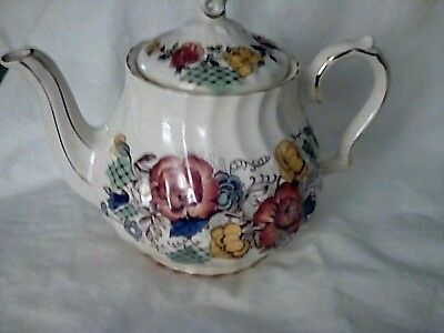 Vtg Sadler England Teapot 'Rose Garden' Yellow Rose Flowers Pottery.