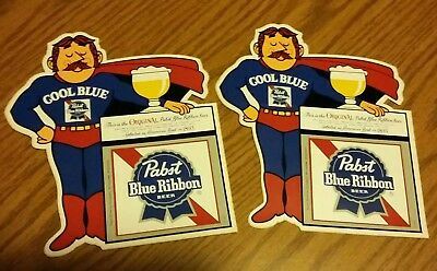 """2 VINTAGE Pabst Blue Ribbon Beer """"Cool Blue"""" Man Sticker-Decal never applied NOS"""