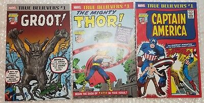 Set of 3 True Believers Kirby 100th Captain America #1 Mighty Thor and Groot