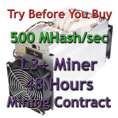 Bitmain Antminer L3+ 500 MHash/sec Guaranteed 48 Hours Mining Contract Scrypt