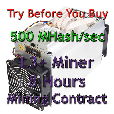 Bitmain Antminer L3+ 500 MHash/sec Guaranteed 8 Hours Mining Contract Scrypt