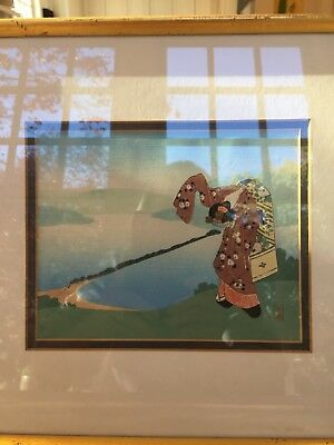 Pair of Gold Framed Antique Japanese Wood Colored Print, signed