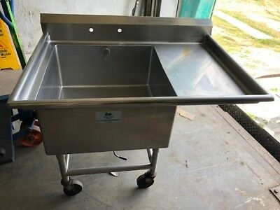 "Select Stainless 50"" x 35"" Stainless Steel Heavy Duty 1 Compartment Sink Wheels"