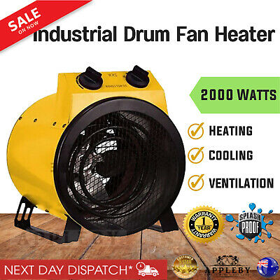 Electric Industrial Fan Heater Floor Carpet Dryer Blower Shed Workshop Garage