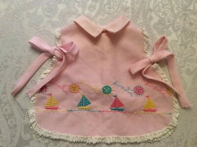 Vintage Toddler/Doll Clothes Pink White Lace Trim Sun Suit Top/Pinafore