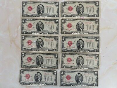 1928g $2 United States Note Red Seal Lot Of 10 Pcs With Free Shipping