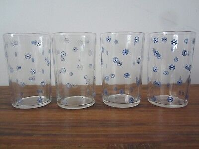 Vintage Swanky Swigs 4 Circle Dot Blue Juice Glasses- Collectible Retro Kitchen