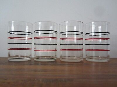 Vintage Swanky Swigs 4 1933 Band Striped Juice glass- Collectible Retro Kitchen