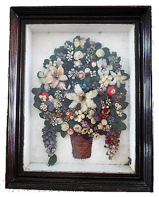 1881 Unique Victorian Hand Made Yarn Floral Carriage Wreath Shadow Box Inscribed