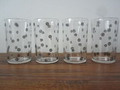 Vintage Swanky Swig 4 1935 Circle Dot Juice Glasses - Collectible Retro Kitchen