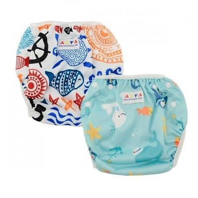 (fishes and blue sea) - Alva Baby 2pcs Pack One Size Reuseable Washable Swim