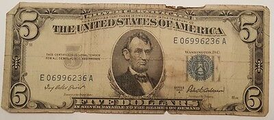 1953 A $5 Five Dollar Blue Seal Silver Cert Note Bill US Currency