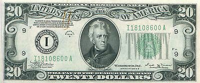 1934 series B I/A (MINNEAPOLIS) $20 Dollar Federal Reserve Note Bill US Currency