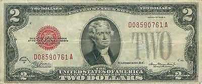 1928 series D $2 Two Dollar Red Seal Note Bill US Currency