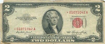 1953 series **STAR** RED Seal $2 Federal Reserve Note Two Dollar Bill