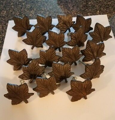 Maple Leaf Shaped Drawer Pulls Cast Iron Set of 18 w/ Screws