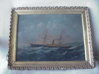 19th CENTURY MARITIME OIL PAINTING US NAVY STEAM SHIP IN THE MANNER OF JACOBSEN