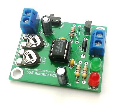 Rk Education - 555 Astable Timer Project PCB - Pack of 4 kits - UK Seller