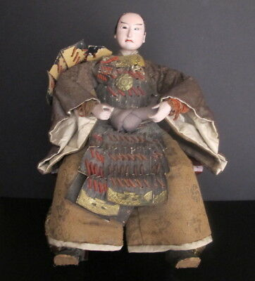 "Antique Japanese Seated Samurai Doll Brocade & Leather Robes Glass Eyes 17"" tall"