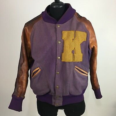 1940s 1944 to 1948 horse hide leather sleeves highschool lettermans jacket