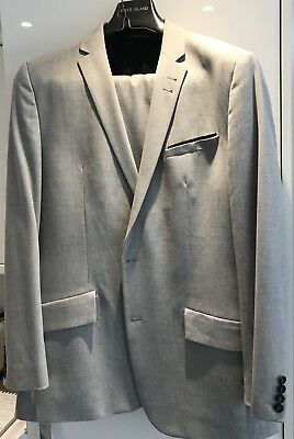 River Island Suit Grey 2 Piece Jacket - 44S Trousers - 36/29""