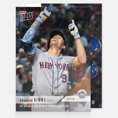 2018 Topps Now #334 Go-Ahead 2-Run Hr In 9Th Powers Mets Win - Brandon Nimmo