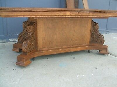 Antique Carved Figural Oak Dining  Table