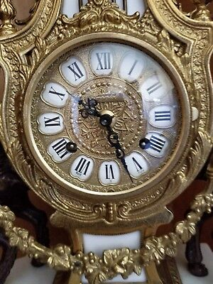 Authentic Vintage Imperial Italian Mantel Clock Marble & Bronze Brass - Perfect!