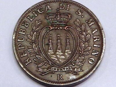 San Marino 1938 10 Centesimi Copper Coat of Arms 3 Towers Forts Castles Fasces