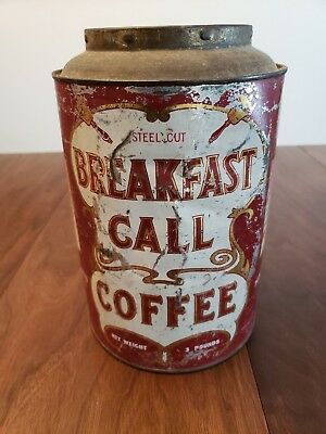 Vintage Breakfast Call Coffee 3lb Pantry Can Advertising Tin - Cookies