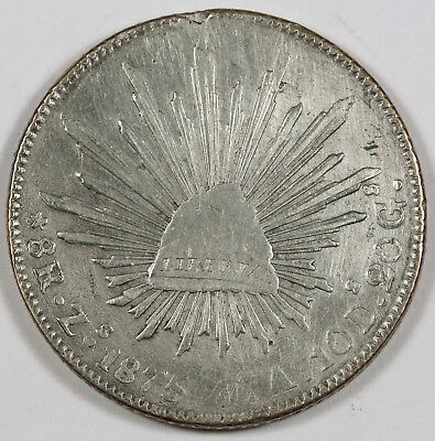 """MEXICO Republic 1875 Zs JA 8 Reales Silver Coin VF """"Cap and Rays"""""""
