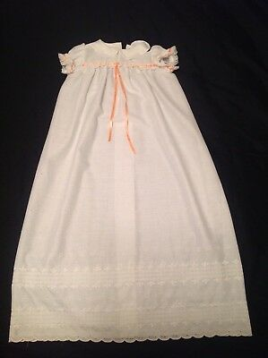 VINTAGE CHRISTENING GOWN Cotton 60s Peach & White with Handmade Label