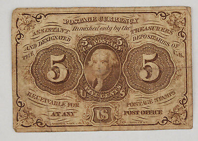 1862-1863 Fractional 5 Cent Currency Note 1st Issue Fine/VF Fr-1230