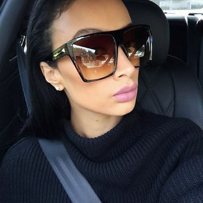 Huge Oversized XXL Square NUDE Bone Off White Cream WaYf Flat TOP Big Sunglasses