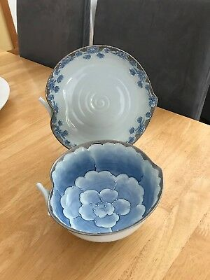 Asian  blue and white, two piece bowl set, leaf  shaped, porcelain