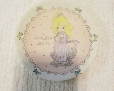 """VINTAGE 1991 Precious Moments """"He Walks With Me"""" 4"""" Mini Plate Personalize ~NEW~"""