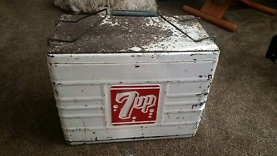 antique 7 up cooler ,vintage advertising with bottle openers