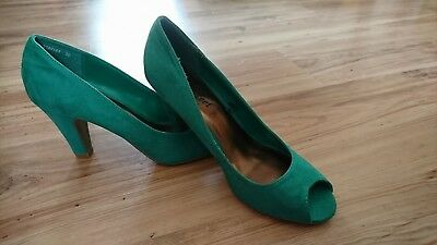 New Look Emerald Green Suede Peep Toe Shoes - Size 6 Wide Fitting - New No Box