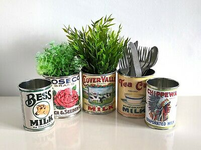 Vintage replica food tin can cutlery holder, wedding flowers props reproduction