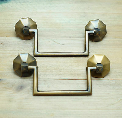 "5.00"" 2 pcs RETRO Vintage Double Cycle Solid Brass CLOSETS Cabinet Drawer Pulls"