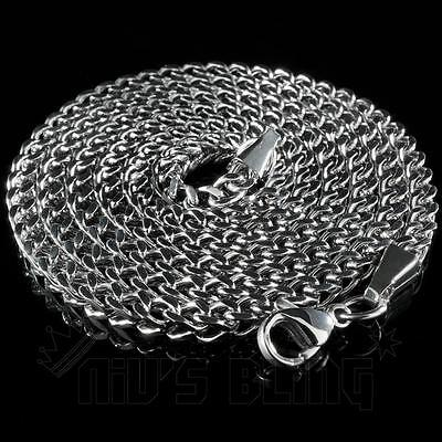 4mm 18K White Gold STAINLESS STEEL Silver FRANCO CHAIN Box Link Curb Necklace