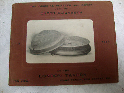 London Tavern The Original Platter And Cover Used By Queen... Sales Brochure