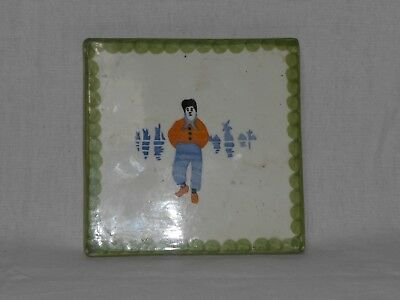 Antique Wheelock Pottery Black Forest Germany Hand painted Dutch Boy Trivet