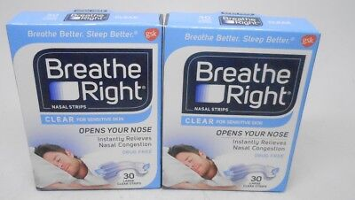 60cnt Breathe Right Nasal Strips Clear Sensitive