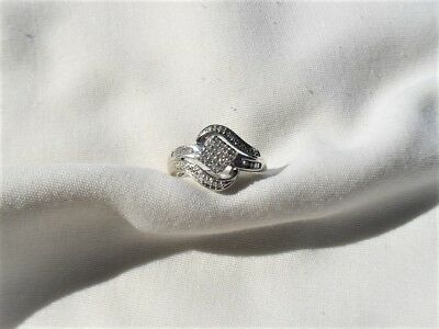 Diamond Ring .50 Carat All Set In .925 Sterling Silver Estate Find No Reserve !!