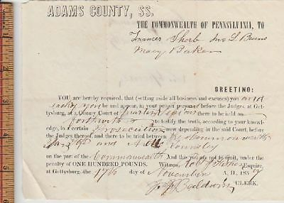 07 Subpoena To John Burns And Two Others Gettysburg Adams Co Pa Court Document