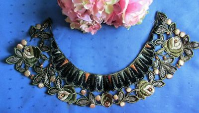 Exquisite Antique Silk Embroidered/cotton Velvet Collar~Roses