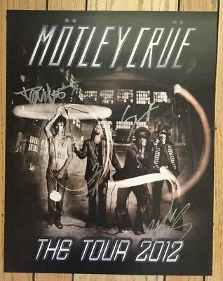 Motley Crue Autographs Full Band Signed 2012 Tour Promotional Poster Tommy Vince